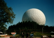 Epcot Spaceship Earth Photo with Coral Reef Restaurant Sign