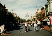 Cinderella Castle in background. 15 year Anniversary lamppost pull downs on street.