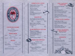 Captain Jacks Oyster Bar Menu