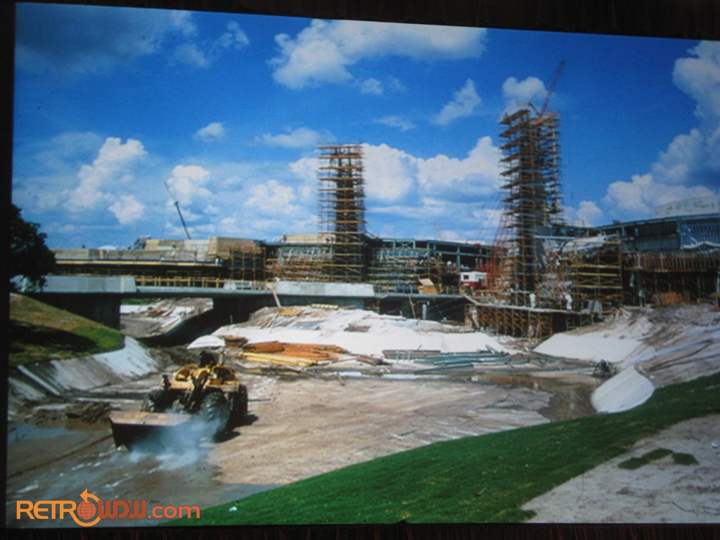 Plaza moat under construction along with Tomorrowland Entrance
