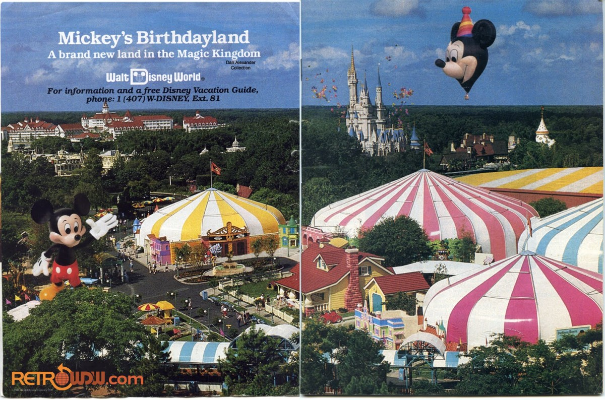 Ad showing an aerial View of Mickey's Birthdayland