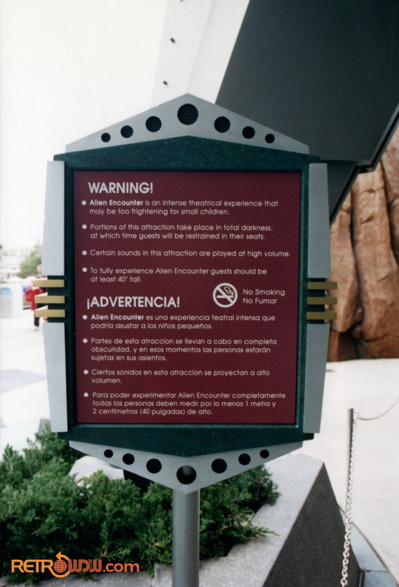 Guest Warning Sign for the New Alien Encounter Attraction in Tomorrowland - 1994