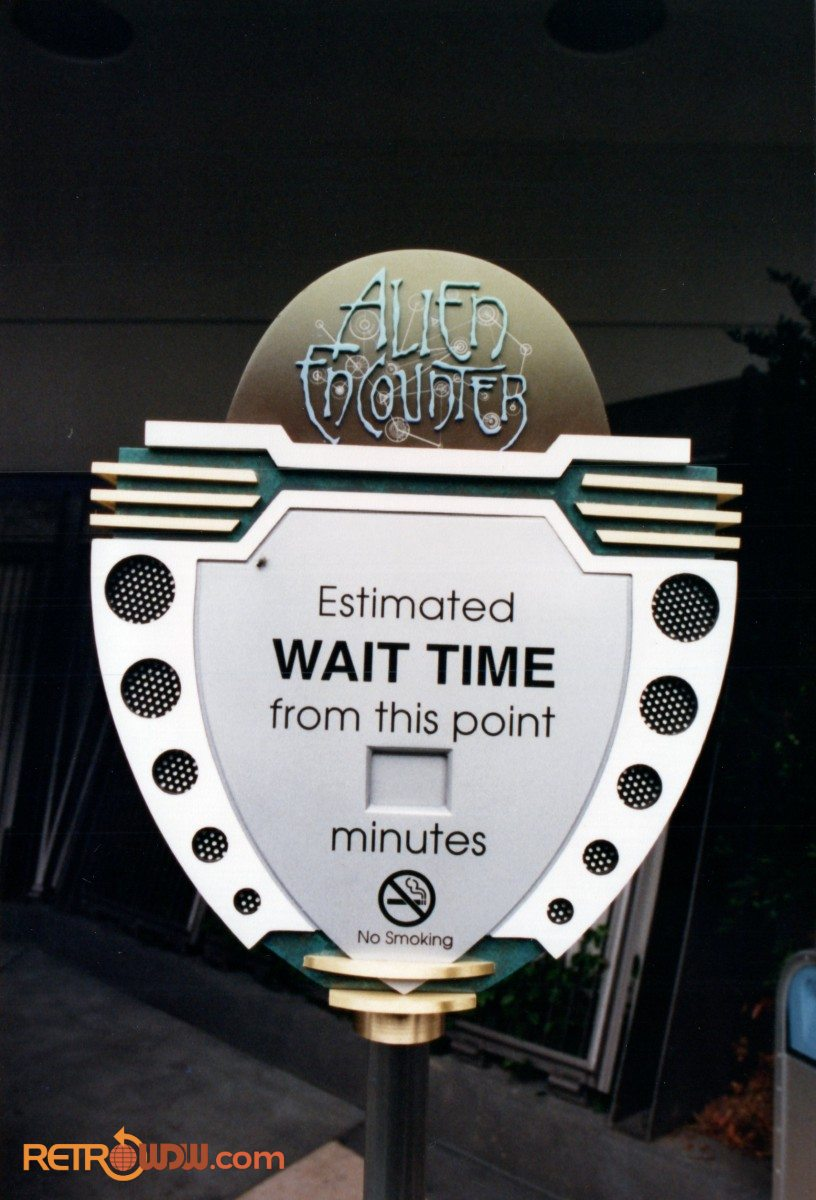 Wait Time Sign for Alien Encounter - 1994