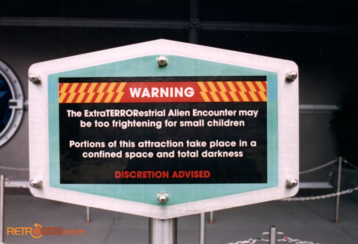 Guest Warning Sign About How Scary Alien Encounter Was For Little Kids - 1994