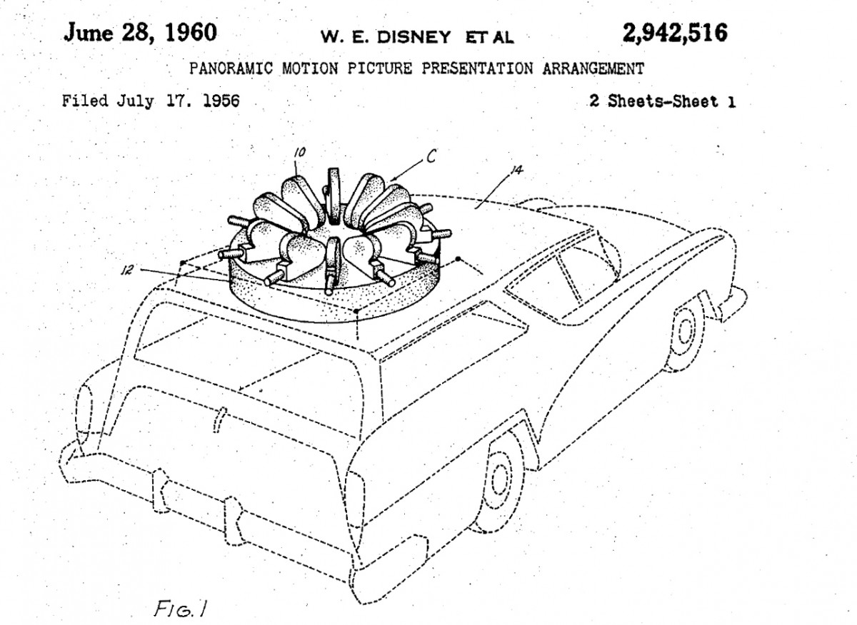 Patent 2942516 - Panoramic Motion Picture Presentation Arrangement (Circlevision) 1956-1960 FIG-01