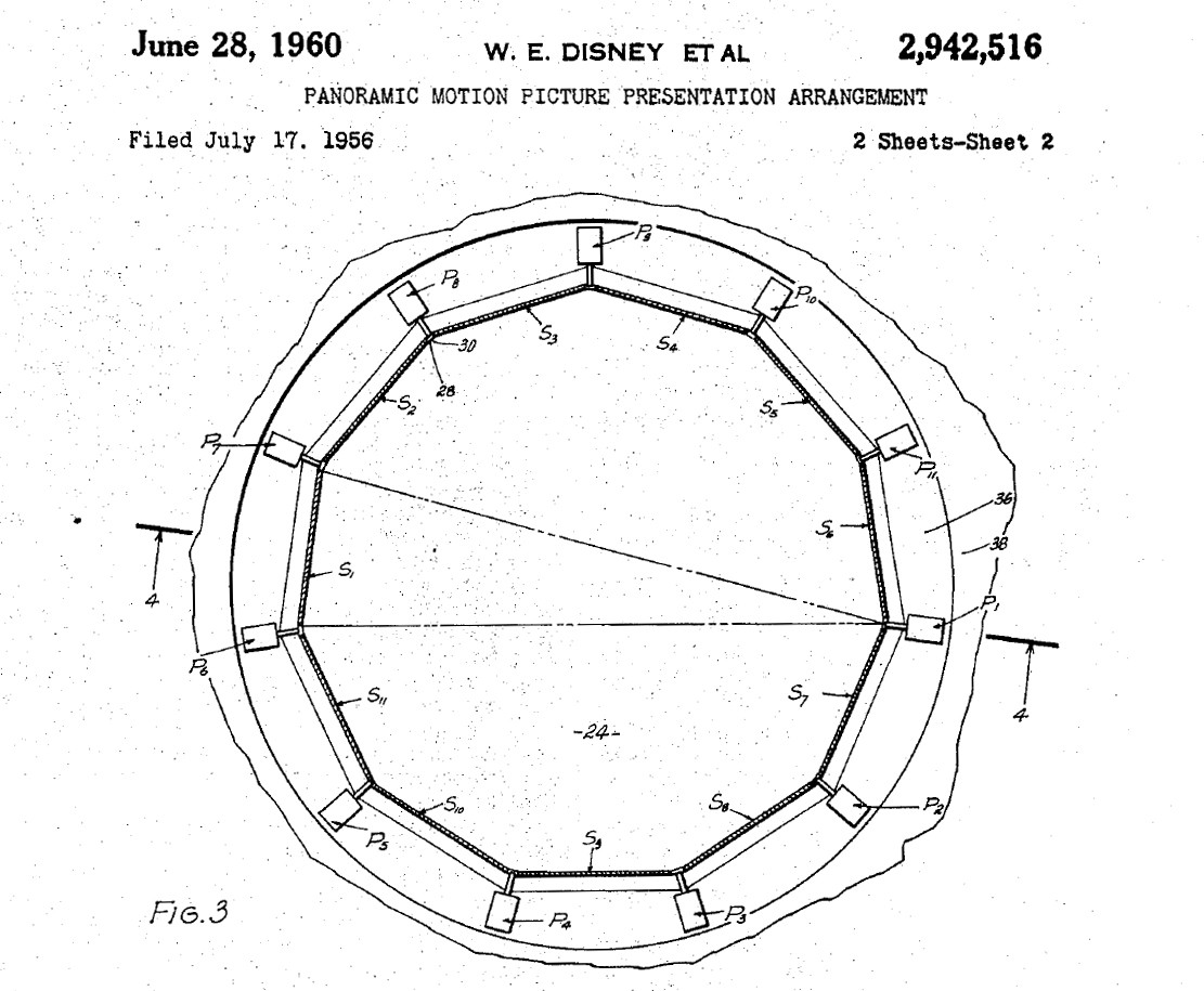 Patent 2942516 - Panoramic Motion Picture Presentation Arrangement (Circlevision) 1956-1960 FIG-03