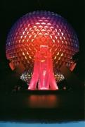 Spaceship Earth & Pylon Fountain: Night