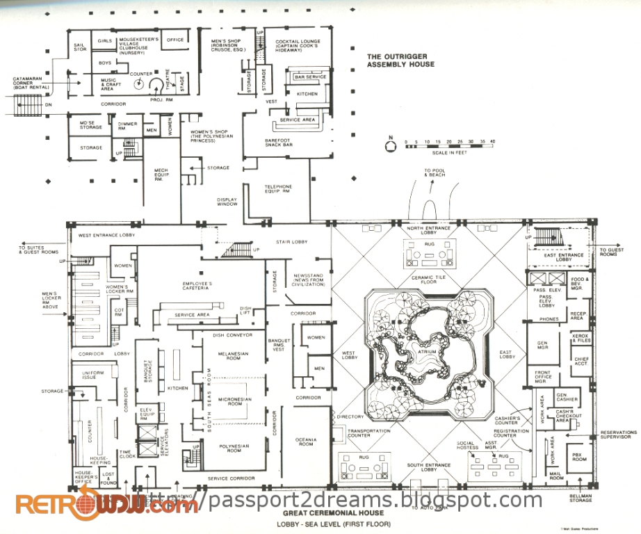 Polynesian Lobby Schematic (Lower Floor)