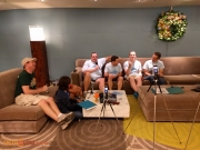 Reese and Riley interviewing (RtoL) Brian, Todd, JT & How