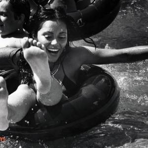 Sabel Frias, Miss Peru, enjoys her water adventure on July 27, 1977