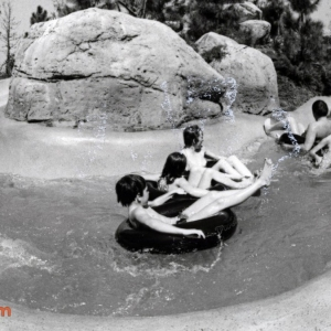 Swimmers enjoy a cool ride on March 8, 1979