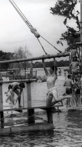 A swimmer enjoys a refreshing experience on the Boom Swing