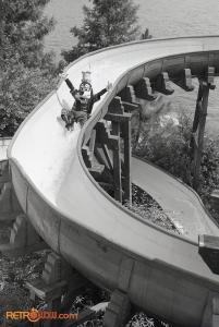 Goofy enjoying River Country's Whoop-'N-Holler Hollow Slide