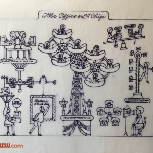 The Office on a Chip Sketch by Walter Einsel EPCOT Center