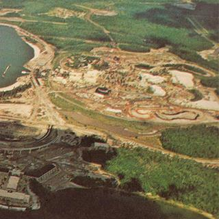 Aerial photography of Walt Disney World, The Magic Kingdom, EPCOT Center, Disney-MGM Studios (now Disney Hollywood Studios) and the resorts.