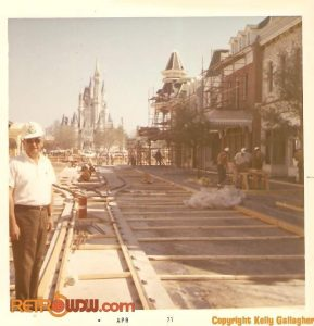 Bud Benedum on Main Street USA in WDW as it's under construction