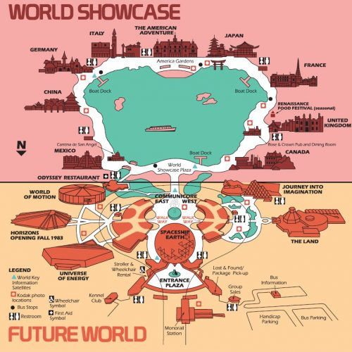 High Resolution 1982 EPCOT Center Map – Free for download/printing!