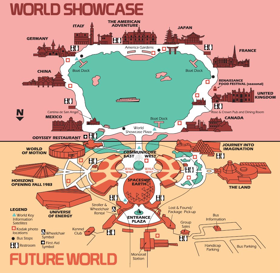 High Resolution 1982 EPCOT Center Map - Free for download/printing ...