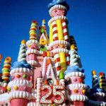 Cinderella's Castle decorated for WDW's 25th Anniversary/Birthday in 1997.