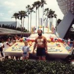 WDW 15th Anniversary/Birthday Cake in front of Spaceship Earth in EPCOT Center taken in 1986