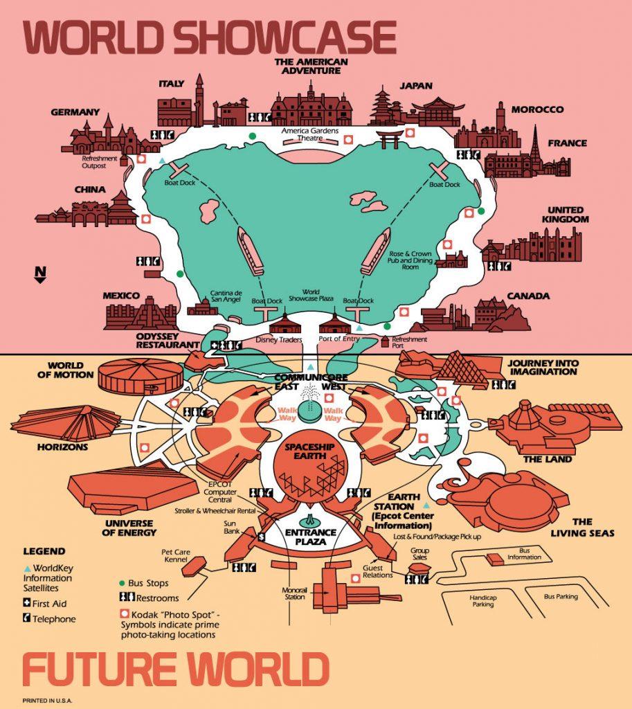EPCOT Center guide map circa 1986-87 - RetroWDW