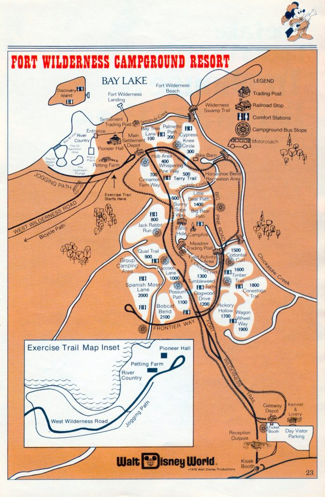 1978 Map of Fort Wilderness and Fort Wilderness Railroad route